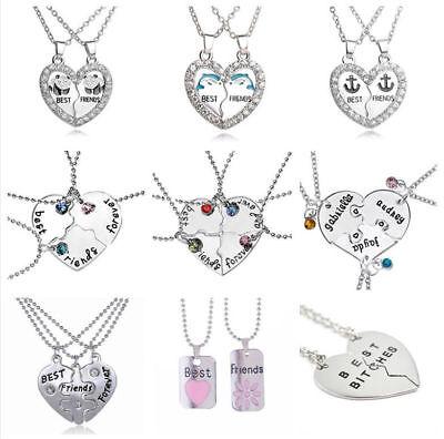 Best Friends Forever Chain Pendant Necklace BFF Broken Heart Rainbow Heart UK