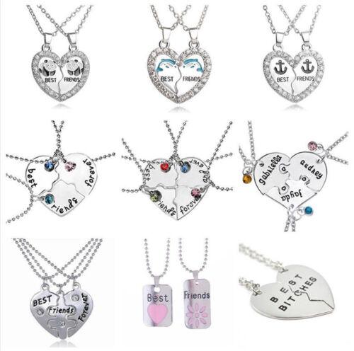 BFF Broken Heart Best Friends Forever Chain Pendant Necklace Birthday Gift UK