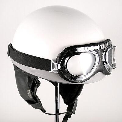 [DCPRICE] Motorcycle Scooter Goggles OPEN FACE HALF HELMET WHITE VINTAGE HELMET