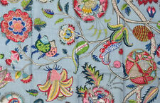 BRUNSCHWIG & FILS 3 Pieces Blue Floral Cotton Sewing Fabric Craft 2.6 Yards