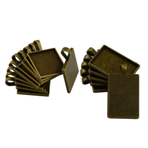 16pcs Bronze Square And Rectangle Pendant Bezel Trays Cabochon Base Setting