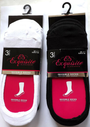 3 PAIRS LADIES INVISIBLE SOCKS  WOMENS GIRLS LINER TRAINER SOCKS 4-7