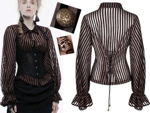 Gothic Steampunk Schädel Mode Bluse Netz Punkrave Viktorian K Streifen Korsett Bqarfxq5w