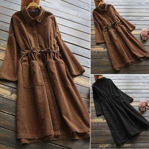 Vintage-Femme-Robe-Chemise-Casual-Ample-Revers-Manche-Longue-Haut-Veste-Plus