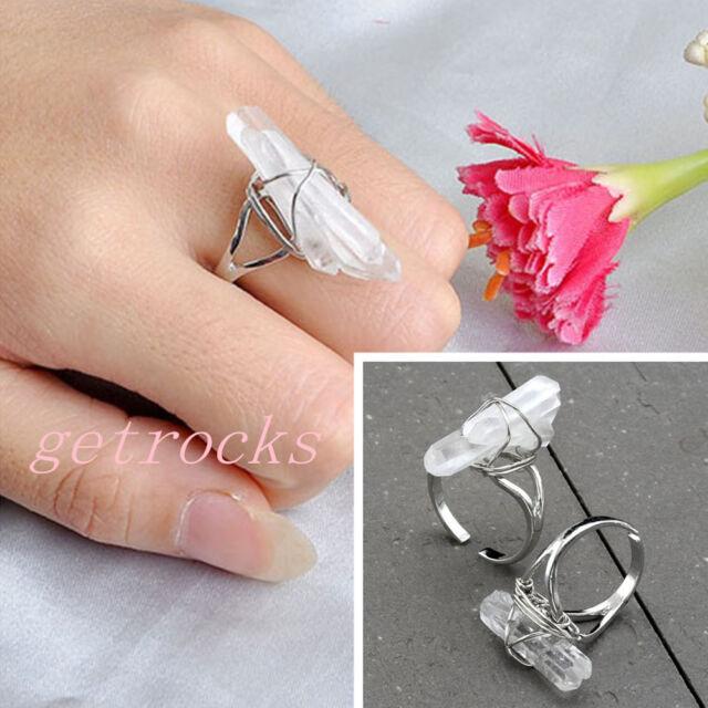 White Clear Crystal Natural Raw Quartz Chakra Healing Gemstone Stone Finger Ring