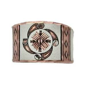Solid-Copper-Ring-Southwest-4-Elements-Silver-Plated-Handmade-Western-Jewelry