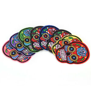 8Pcs-iron-on-patches-for-clothes-sew-on-embroidered-patch-applique-rose-skull-FG