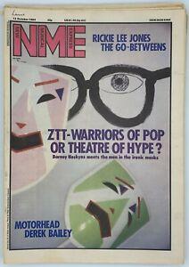 NME  13 October 1984 ZTT Motorhead Derek Bailey Rickie Lee Jones Go Betweens