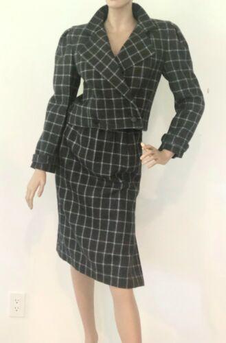 Vtg 1960s Wool Angora Gray & White Buffalo Check S