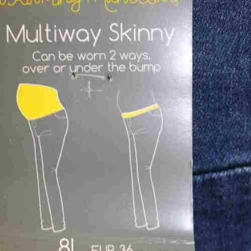 Branded Maternity Pregnancy Multiway Worn 2 Ways Skinny Mid Wash Denim Jeans