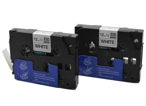 12mm x 8m Black on White 2 Brother P-touch Compatible TZ Laminated Label Tape
