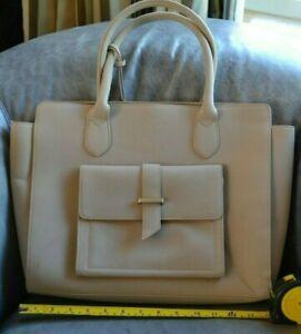 Forever-New-Beige-cream-NWOT-large-handbag-suede-effect-handbag-work-tote-FAB