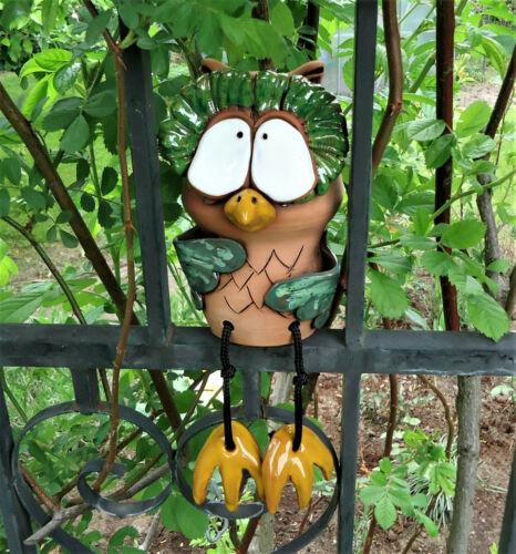 Keramik Eule Uhu Owl Gartenstecker Kantensitzer mit Bammelbeinen Garten Deko