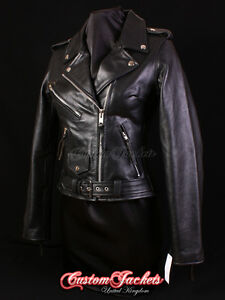 Ladies-BRANDO-Hide-Leather-Jacket-Black-Classic-Motorcycle-Motorbike-Jacket