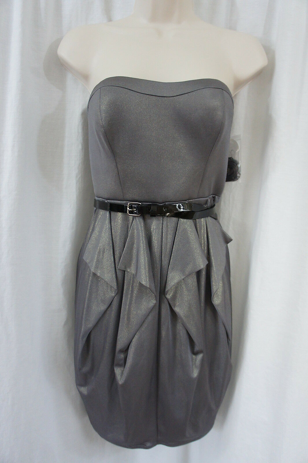 Jessica Simpson Dress Sz 4 Charcoal Gold Strapless Cocktail Party Dinner Dress