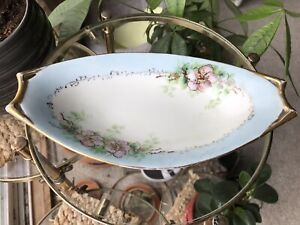 Vintage HUTSCHENREUTHER SELB German Bavaria White Bowl Dish Plate Gold Flowers