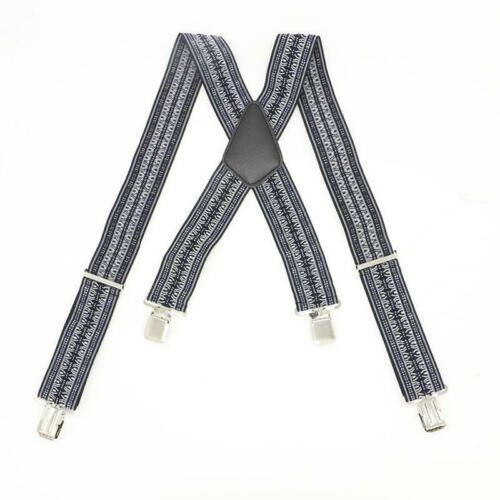 Mens Braces Adult Trouser Clip On Suspenders Adjustable Elastic X Y Back 6L