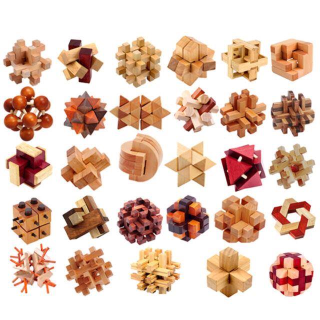Newest IQ 3D Wooden Brain Teaser Burr Interlocking Puzzle Game Toy for AdultLN