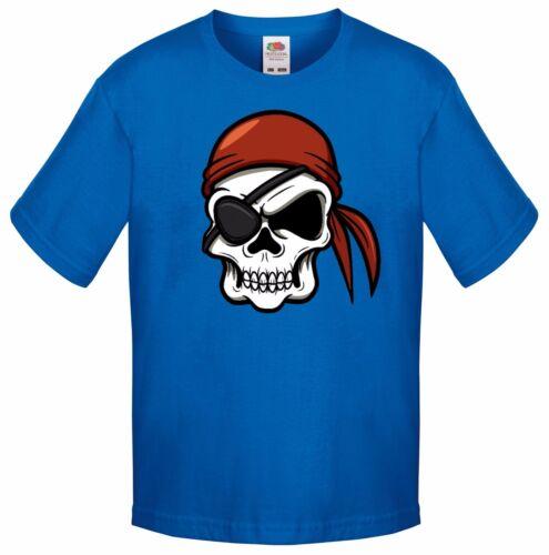 Halloween Party T Shirt Costume Childrens Kids Evil Pirate Cartoon Skull