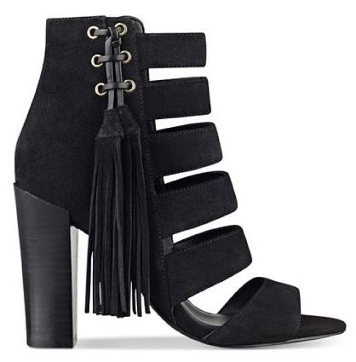 Women's shoes GUESS BLASA Heels Sandals Shootie Tassel Tassel Tassel Suede Black e7a337