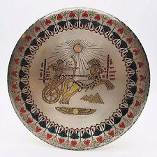 VTG Egyptian Decor Metal, Brass Hanging Plate - Egypt King Ramses Chariot Theme