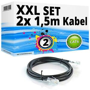 SET-2x-1-5m-CAT6-Netzwerkkabel-Patchkabel-Gigabit-LAN-100-1000Mbit-s-schwarz