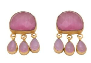 Brand New Pink Agate Faceted Stone18K Gold Plated Stud Earrings w/Hanging Stones