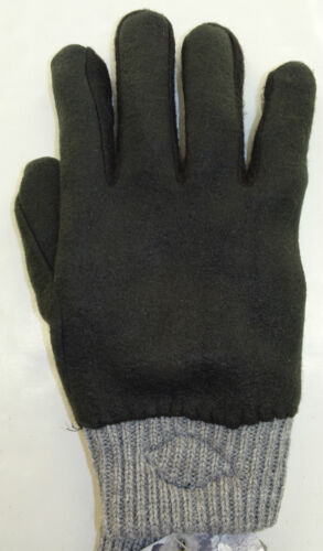 DICKIES Knit Gloves w//Suede Patch  Fleece Lined Grey//Black  One Size Fits Most