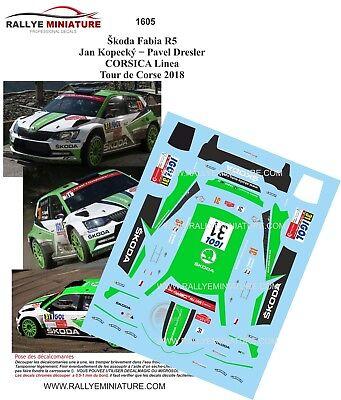 DECALS 1//43 REF 1606 SKODA FABIA R5 VEIBY TOUR DE CORSE 2018 RALLYE RALLY WRC