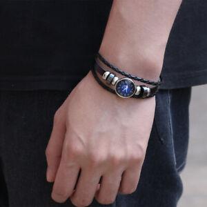 12-Zodiac-Signs-Braided-ZINC-Leather-Vintage-Bracelet-Men-Women-Punk-Jewelry-NEW