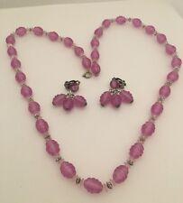 "Beautiful Vintage Purple Bead Strands 31"" Necklace Earrings Set W. Germany  H287"