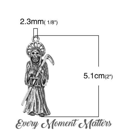 5 x Tibétain Argent GRIM REAPER Large 51 mm x 18 mm charms pendentifs