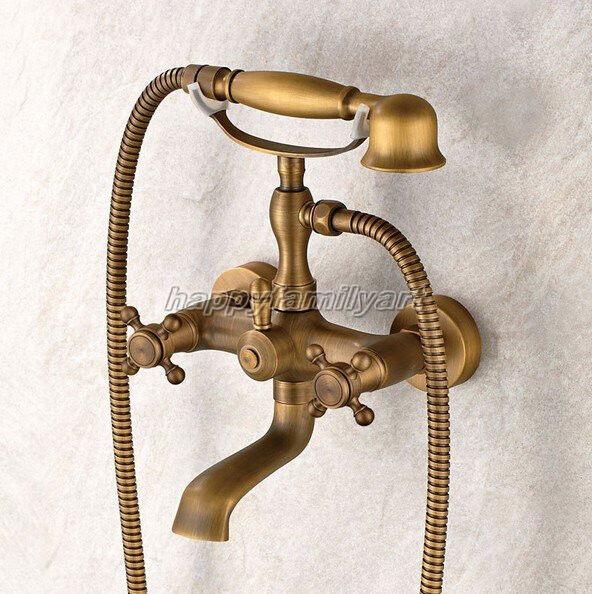 Laiton Antique Support mural salle de bain clawfoot baignoire robinet et douche à main ytf009