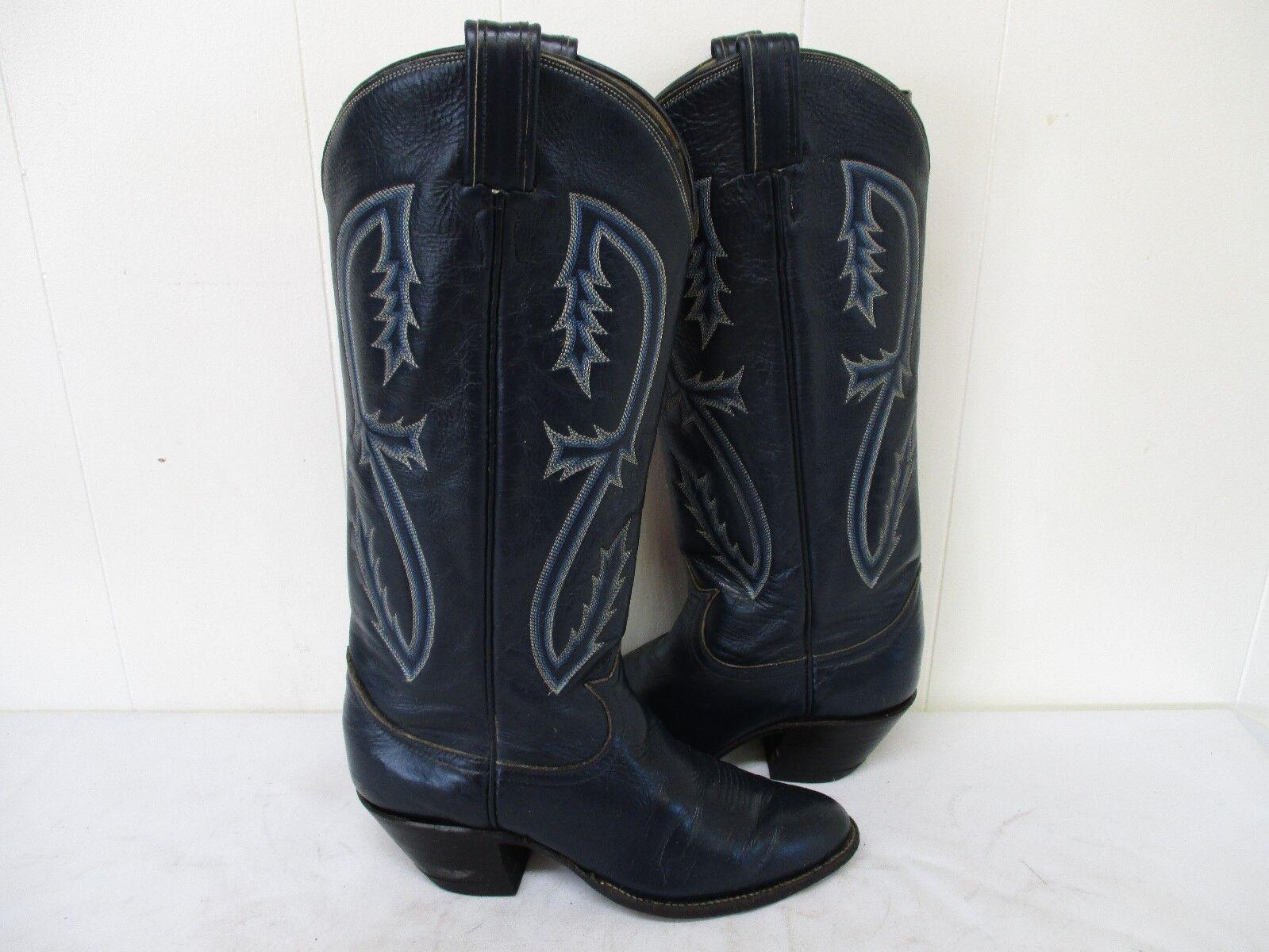 Tony Lama Blau Leder Tall Cowboy Stiefel Damenschuhe Größe 6 B Style K0556 USA