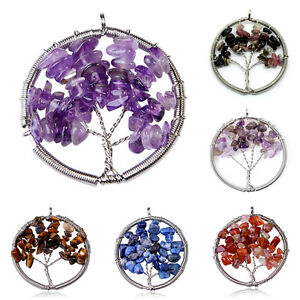 Wire-Work-Natural-Stone-Tree-Of-Life-Pendant-Necklace