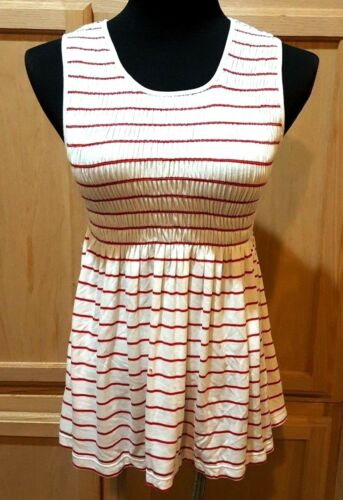 $68 Sophie Max Studio 7B02D70 Ivory//Red Striped Smocked Stretch Jersey Top