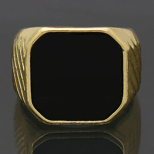 Mens-14k-Gold-Plated-Hip-Hop-Style-Black-Top-Bling-Pinky-Ring