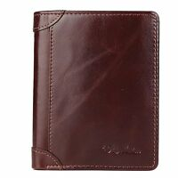Bison Denim Mens Vintage Italian Genuine Leather Slim Bifold Wallet Handmade