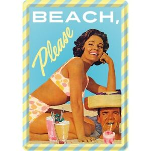 BEACH-PLEASE-PIN-UP-Cartolina-METALLO-TARGA-DI-LATTA-TIN-Card-SIGN-10-x-14-cm