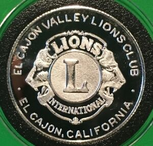 El Cajon Valley California Lions Club 1 Troy Oz .999 Fine Silver Rare Round Coin