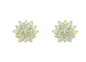 9ct-Yellow-Gold-0-50ct-Diamond-Cluster-Stud-Earrings-9mm
