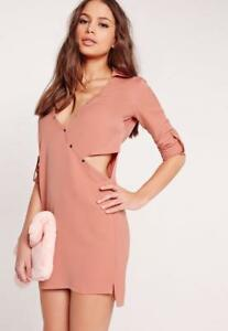 MISSGUIDED-CROSSOVER-CUT-OUT-SHIRT-DRESS-PALE-PINK-SIZE-8-WOMENS