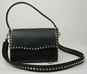 heiß-verkaufendes spätestes zur Freigabe auswählen Für Original auswählen Details zu Valentino Garavani M Rockstud Leder Schwarz Schulter Handtasche  Tasche
