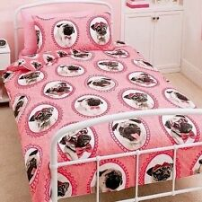 Childrens Pink Single Bed Bedding Duvet Set  Pug Dogs with Pillowcase - NEW