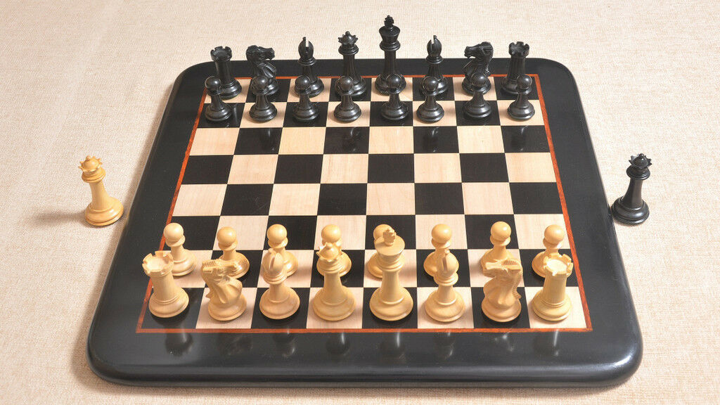 Combo of Slant Base Staunton Series Series Series Chess Pieces & Wooden Board in Ebony wood 1184e4