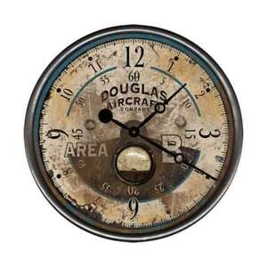 Vintage Douglas Aircraft Round Rustic Wall Clock Made In Usa Antique