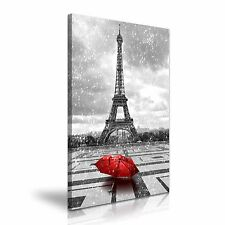 Parigi Torre Eiffel Pioggia Rosso Ombrello Tela Wall Art Print 50x76cm