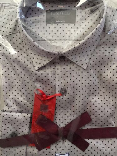 M/&S GREY SHIRT WITH BURGUNDY SPOTS /& BUTTON DOWN COLLAR IN PURE COTTON BNWT