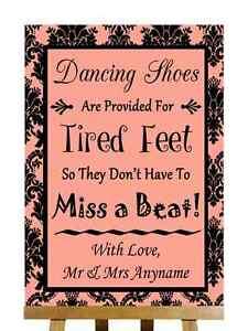 Coral Negro Damasco Zapatos de baile con los pies cansados Personalizado Boda Signo