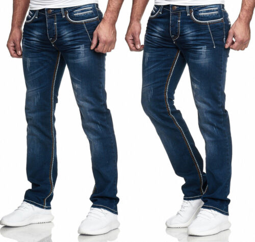 Herren Jeans Chino Hose  Dicke Naht  Straight Cut Regular Stretch Näht Schwarz 8